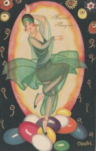 ART DECO ; CHIOSTRI ; Flapper Woman in Green , EASTER , 1910-30s