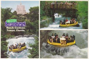 3-Views, Congo River Rapids, Bridge, Busch Gardens, Tampa, Florida, 50-70s