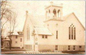 1910s LAUREL, Nebraska RPPC Real Photo Postcard M.E. CHURCH Building Street View