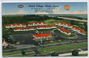 Dutch Village Motor Court Motel US Route 40 13 New Castle Delaware postcard