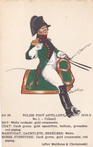 Polish Foot Artillery Colonel Army Soldier Napoleonic War Military Postcard
