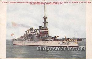 US Battleship Massachusetts Place Launched Philadelphia, PA, USA Postcards Po...