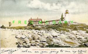 1906 Burnt Island Maine PC: Lighthouse; Brunswick, Bath & Lewiston RPO Cancel