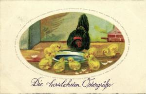 Easter Greetings, Chicken with Chicks (1930)