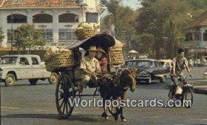 Horse drawn carriage Vietnam, Viet Nam Stamp on back