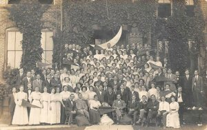 RPPC Crescent Moon College? Students Pennants c1910s Photo Vintage Postcard