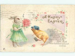 Pre-Linen Easter HUMANIZED BUNNY RABBIT WITH FLOWER BOUQUET AB3396