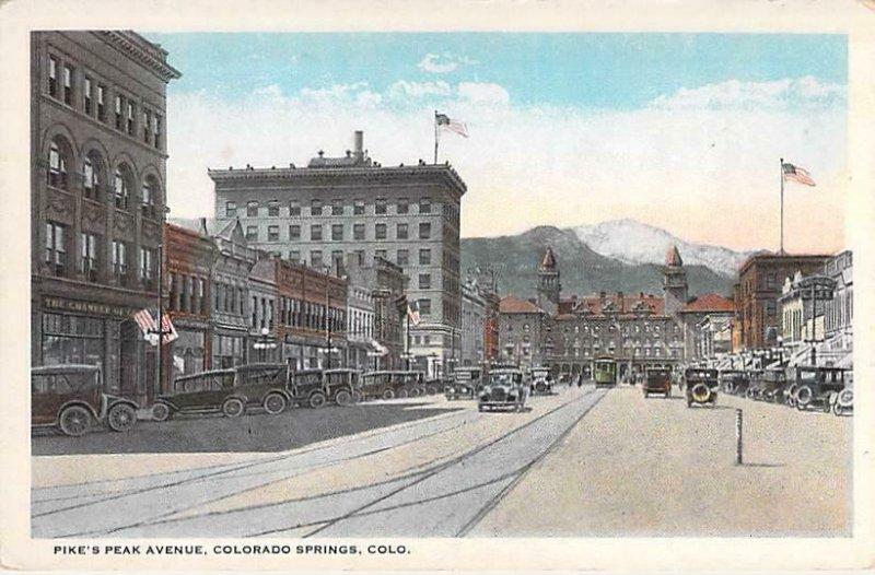 Pike's Peak Avenue, Colorado Springs, Colo Unused Vintage  Postcard