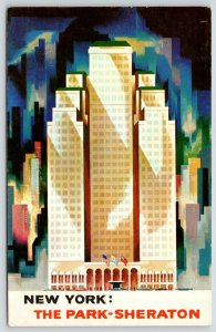 New York City~Park-Sheraton Hotel~7th Ave @ 55th Street~Modern Art~1965 Postcard