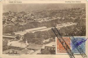 Venezuela greetings from Caracas Station panorama postcard 1920s TCV stamps