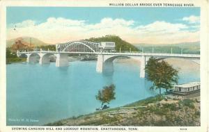 Chattanooga, TN Million Dollar Bridge Over the Tennessee River Postcard 1933