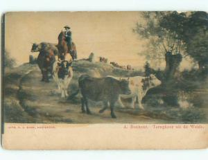 Unused Pre-1907 western CATTLE DRIVE - COWBOY HERDS COWS DOWN THE HILL J4213
