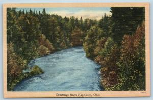 Postcard OH Napoleon Scenic Greetings from Napoleon Ohio Vintage Linen #2 L20