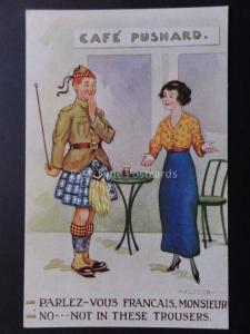 Comic Postcard ARMY SCOTTISH KILT FRANCE THEME PARLEZ -VOUS FRANCAIS. MONSIEUR