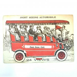 1907 San Jose CA Sight Seeing Automobile 24 Multi View Postcard Crall Whimsical