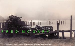 Atkins Bay (Sagadahoc County) Maine RPPC: Sunset, lobster traps, beautiful, rare