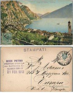 LAGO DI GARDA LIMONE ITALY LAKE 1913 ANTIQUE POSTCARD