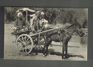 Mint India BW RPPC Postcard Men in Donkey Cart