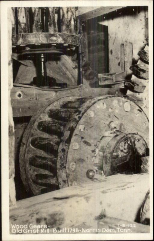 Norris Dam TN Old Grist Mill Wood Gears CLINE Real Photo Postcard EXC COND