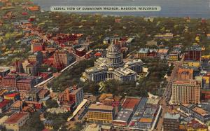 Aerial View of Downtown Madison, Madison, Wisconsin, Early Linen Postcard, Used