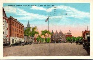 Illinois Evanston Sherman Avenue Looking North 1929