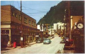 Franklin Street Scene in Juneau, Alaska, AK, Pre-zip code Chrome