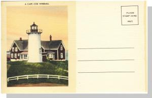 Divided Cape Cod, Massachusetts/Mass/MA Postcard, Windmill, Near Mint!