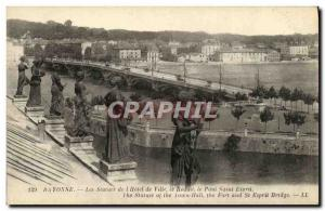 Old Postcard Bayonne Statues In The City star The bridge reduces the Holy Spirit