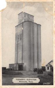 Minneola Kansas~Farmer's Elevator~Trucks~1951 B&W Postcard~AS IS