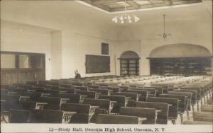 Oneonta NY High School Study Hall  c1910 Real Photo Postcard #12 EXC COND