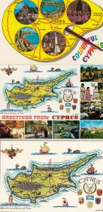 Colourful Cyprus Artists Paint Palette Aphrodite 3x 1980s Map Postcard s
