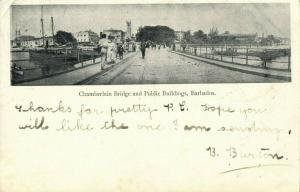 Barbados B.W.I., BRIDGETOWN, Chamberlain Bridge Public Buildings (1905) Postcard