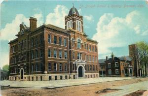 Fremont Ohio~Dirt Road by St. Joseph School & Rectory~Arch Doorway~1910 Postcard
