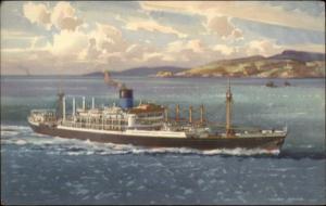 Blue Funnel Line Steamship Alfred Holt & Co Ocean Liner Ship Old Postcard