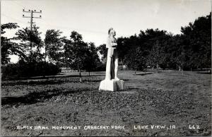 Lake View Iowa~Crescent Park~Black Hawk Indian Chief Monument~1940s RPPC