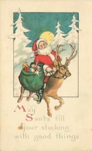 Artist impression Christmas Santa Toys Reindeer C-1910 Postcard Gibson 4881
