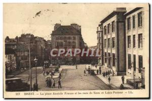 Old Postcard Brest Place Anatole France and Streets Of Siam and Louis Pasteur