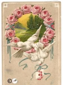 White Doves and Pink Rose framing Beautiful Meadow Scene Letter in Beak