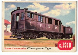 13775 Topps Chewing Gum Card, Railroad Series, No. 39, Steam Locomotive Climax