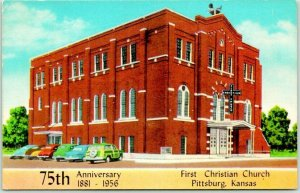 1956 Pittsburg, Kansas Postcard First Christian Church Street View w/ Cancel