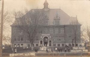 Blue Earth Minnesota~High School~Kids on Sidewalk & Stairs~Teacher~1907 RPPC