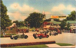 Watkins Glen NY Grand Prix Race Course c1940s racecars flags stands Seneca Lake