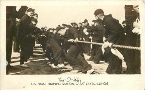 Great Lakes Illinois~Tug O War US Naval Training Station~1943 WWII RPPC