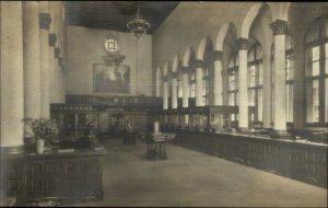 Santa Barbara CA County National Bank Interior c1920s Real Photo Postcard
