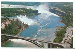 Aerial view of Niagara Falls, unused Postcard