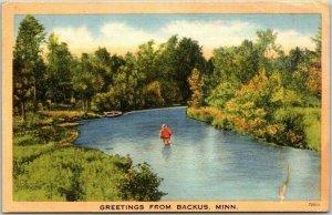 1940s BACKUS, Minnesota Greetings Postcard River Fishing Scene Linen / 1946