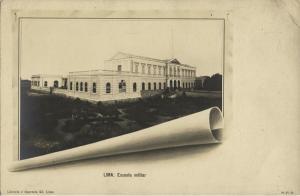 peru, LIMA, Escuela Militar, Military School (1899) RPPC Postcard