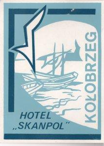 Poland Kolobrzeg Hotel Skanpol Vintage Luggage Label sk1570