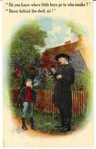 Little Boy Smoking and Pastor  1914