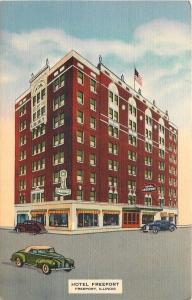 Freeport Illinois~Hotel Freeport~Coffee Shop~1940s Linen Postcard